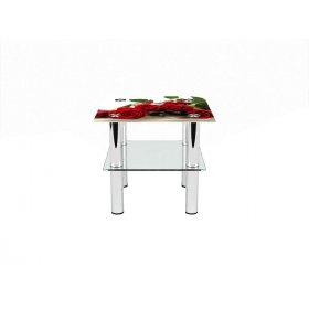 Квадратный журнальный стол с полкой Red Roses 40х40