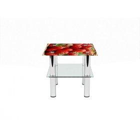 Квадратный журнальный стол с полкой Strawberry 40х40