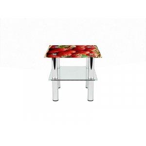 Квадратный журнальный стол с полкой Strawberry 70х70