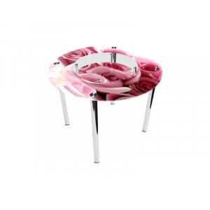 Стол круглый с полкой Pink Roses Эко