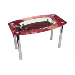 Стол обеденный Бочка с полкой Fiori rossi 120х75
