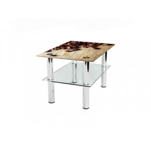 Прямоугольный журнальный стол с полкой Coffee 75х52