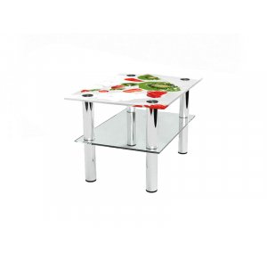 Прямоугольный журнальный стол с полкой Fruit Milk 95х66
