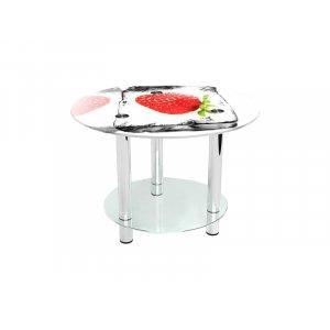 Круглый журнальный стол с полкой Ice berry 100х100