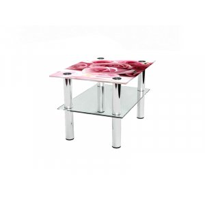 Прямоугольный журнальный стол с полкой Pink Roses 65х45