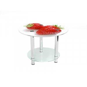 Круглый журнальный стол с полкой Red berry 70х70