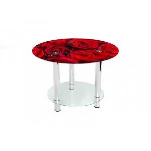 Круглый журнальный стол с полкой Rose 80х80