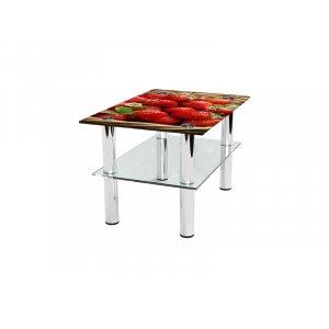 Прямоугольный журнальный стол с полкой Strawberry 85х59