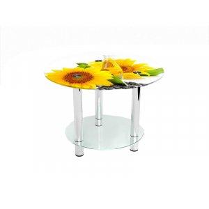 Круглый журнальный стол с полкой Sunflower 80х80