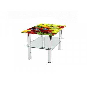 Прямоугольный журнальный стол с полкой Wood berry 85х59