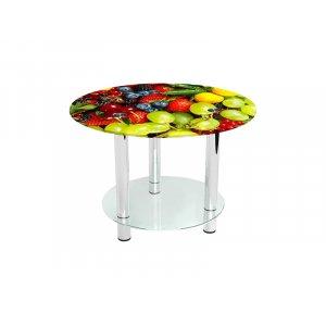 Круглый журнальный стол с полкой Wood berry 60х60