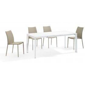 Комплект стол MATT WHITE GLASS+4 стула STRAIGHT