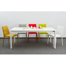 Комплект стол MATT WHITE GLASS+5 стульев из кожзама BASIC