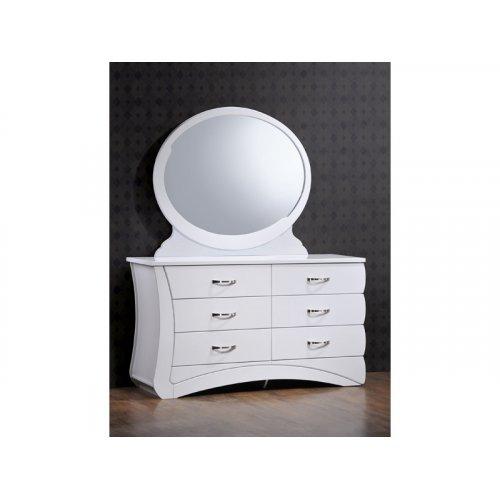 Будуарный стол с зеркалом Эвита (белый глянец)
