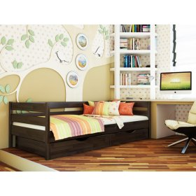 Буковая кровать Нота 90х200 с ящиками в цвете венге