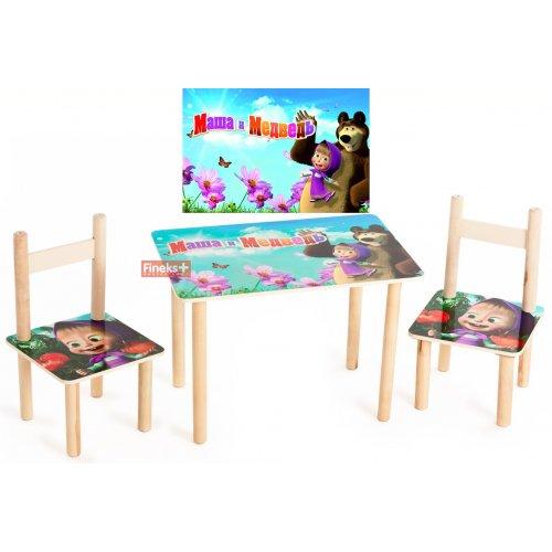 Набор детской мебели стол и 2 стула Маша и Медведь