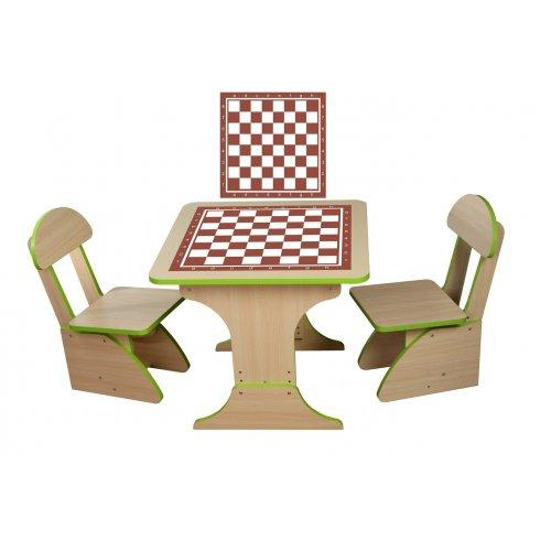 Игровой столик растущий + 2 стульчика Шахматы