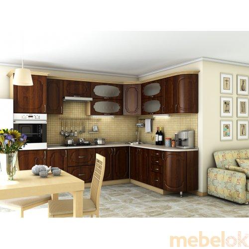 Зеркальное отображение - Кухня Сансет орех темный (2,1х3,0 м)