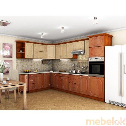Зеркальное отображение - Кухня Сансет яблоня светлая / яблоня темная (3,4х2,1 м)