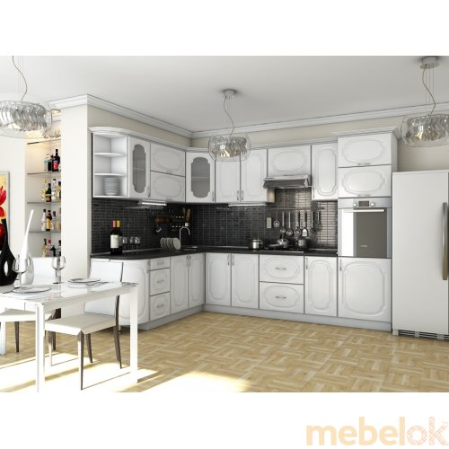 Зеркальное отображение - Кухня Сансет Белое дерево (3,0х2,1 м)