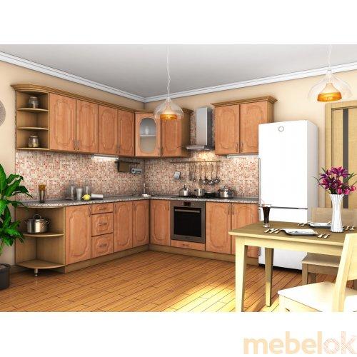 Зеркальное отображение - Кухня Сансет ольха темная тисненая (2,4х2,5 м)