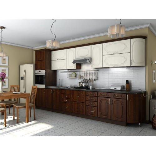 Кухня Сансет ясень жемчужный / орех темный (3,9 м)