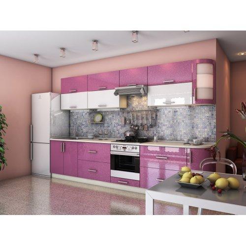 Кухня Гламур лиловый металлик / белый металлик (3,3 м)