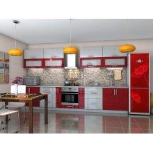 Кухня Гламур бордо металлик / серый металлик (3,8 м)