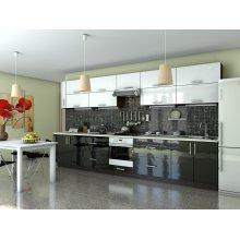 Кухня Гламур белый глянец / черный глянец (4,1 м)