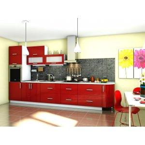 Кухня Гламур красный глянец (3,9 м)