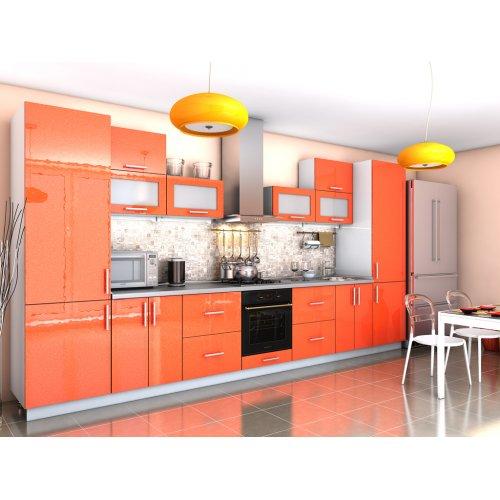 Угловая кухня Гламур оранж металлик (3,9 м)