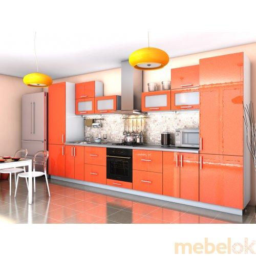 Зеркальное отображение - Угловая кухня Гламур оранж металлик (3,9 м)