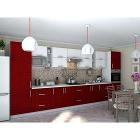 Кухня Гламур белый металлик / бордо металлик (4,6 м)