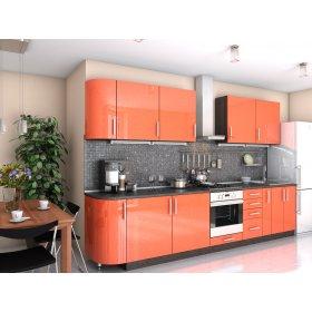 Кухня Гламур оранж металлик (3,3 м)