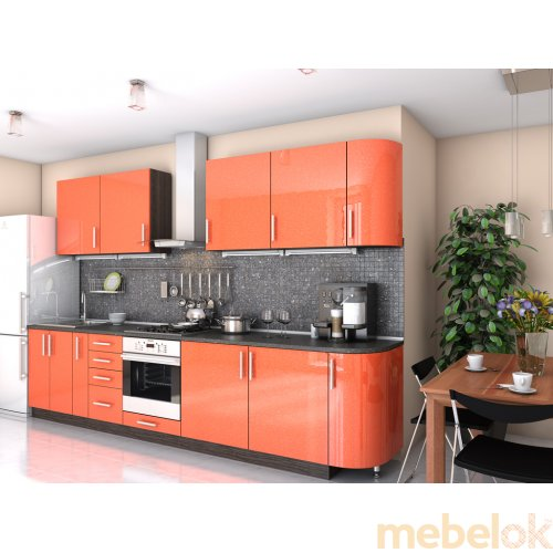 Зеркальное отображение - Кухня Гламур оранж металлик (3,3 м)