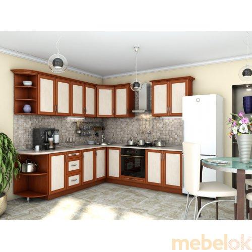 Зеркальное отображение - Кухня Контур яблоня темная + дуб молочный (2.4х2,5 м)