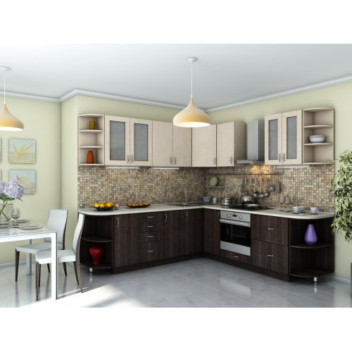 Кухня Модест дуб молочный / венге темный (2,5 х2,5 м)