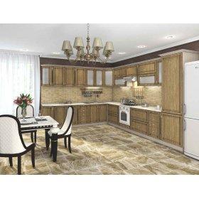 Кухня Платинум карпатская ель с коричневой патиной (3,0х3,95 м)