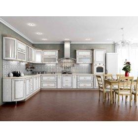 Кухня Платинум Белая структура в серебре с серебряной патиной (3,0х3,75 м)