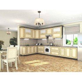 Кухня Платинум Ваниль супермат с золотой патиной (2,23х4,15 м)