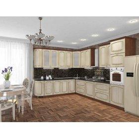 Кухня Платинум Ясен голд с золотой патиной (2,65х3,6 м)