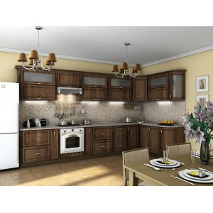 Кухня Платинум орех пасифик патина (3,85х1,8 м)