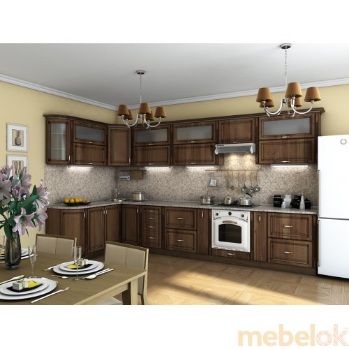 Зеркальное отображение - Кухня Платинум орех пасифик патина (3,85х1,8 м)