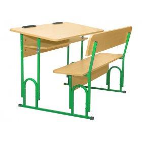 Парта-скамейка 2-местная с полочкой №4-5