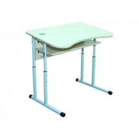 Стол ученический 1-местный с полочкой и выемкой под стакан МДФ №4-6
