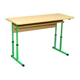 Стол ученический 2-местный с полочкой (регулировка 4-6)