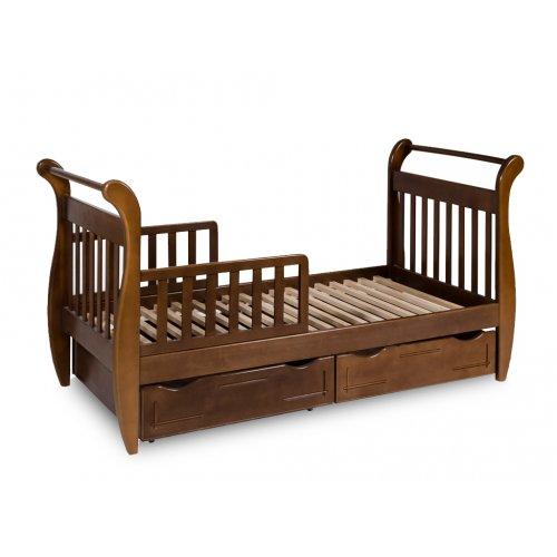 Кровать-сани тонированная с ящиками