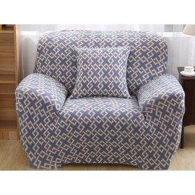 Чехол на трехместный диван HomyTex 195х230 абстракция серо-голубая