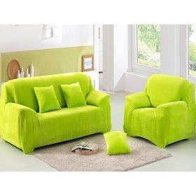 Чехол на трехместный диван HomyTex 195х230 замш салатовый