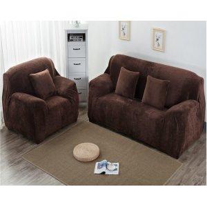 Чохол на тримісний диван 195х230 замш коричневий